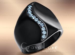 【9号】 アクアマリン カラー ブラック ステンレス リング 黒 指輪 | 3月誕生石 天秤座 魚座 | 幅広 レディース ファッションジュエリー