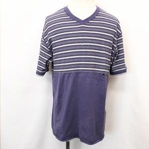 【日本製】 RYKIEL HOMME リキエルオム MA メンズ Tシャツ カットソー ボーダー柄 Vネック 半袖 服 綿100% ネイビーパープル系 紺・紫系