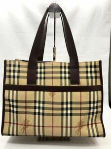 バーバリー ハンドバッグ ダークブラウン×チェック PVC 美品 レディース カバン BURBERRY ビジネスバッグ トートバッグ