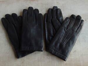 フランスアンティーク 手袋 2個セット グローブ レディース 服飾 蚤の市 ブロカント ビンテージ レザー調 黒 ブラック