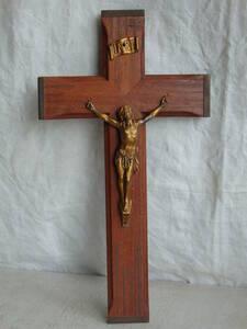 フランスアンティーク 十字架 クロス ウォール 壁掛け キリスト 教会 装飾 インテリア フレンチ 蚤の市 ブロカント 木製