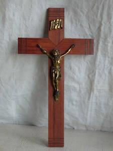 フランスアンティーク 十字架 クロス ウォール 壁掛け キリスト 教会 装飾 インテリア フレンチ 蚤の市 ブロカント 木製 仏