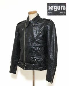 貴重 70s SEGURA フランス製 セグラ 本革 レザー ライダースジャケット レッドライナー ロンジャン ルイスレザーヴィンテージ イングランド