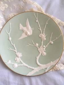 アンティーク 英国 ミントン ミントグリーン 金彩 花鳥紋様 ジャポニズム キャビネットプレート