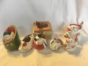 昭和レトロ 土鈴 郷土玩具 置物 伝統工芸 民芸品 かぐや姫 ネズミ ツル 馬 辰 牛 一刀彫り