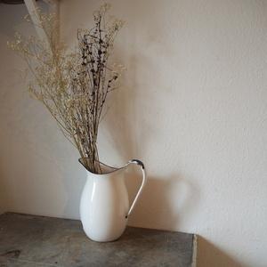 フランス アンティーク 琺瑯製 水差し ピッチャー 花瓶 花器 ホワイト 白 古道具 店舗什器 フラワーベース アート シャビー オブジェ 食器