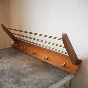 希少 北欧 ヴィンテージ シェルフ ハットラック フック チーク 真鍮 木 スペースエイジ店舗什器ミッドセンチュリー ストリングstring shelf