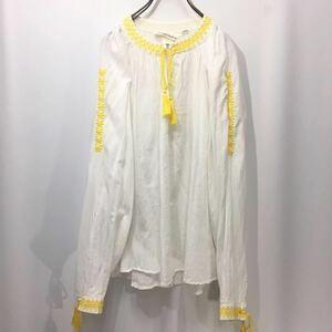 【送料360円】H&M エイチアンドエム 刺繍入り長袖ブラウス 女性用 レディース サイズ36 カットソー H-841
