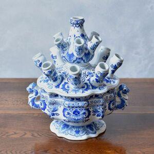 IZ46006I○レア 定価49万 ロイヤルデルフト チューリップ 花瓶 オランダ ROYAL DELFT デルフトブルー フラワー ベース H33cm Koninklijke