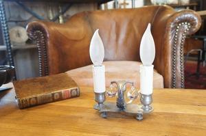 フランスアンティーク ピューター製 2灯キャンドルランプ/アンティークデスクランプ/アンティークテーブルランプ/錫/antique/アールデコ
