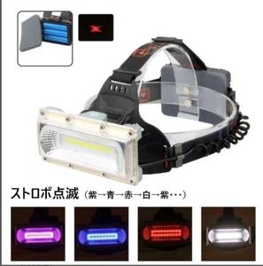 『USB充電式』(ゴールド)超強力巨大COB LED ヘッドライト ヘッドランプ ヘルメットライト ヘルメットランプ