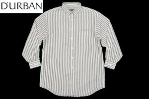 Y-0906★送料無料★美品★D'URBAN ダーバン★正規品 ホワイト白色 ストライプ 長袖ドレスシャツ L