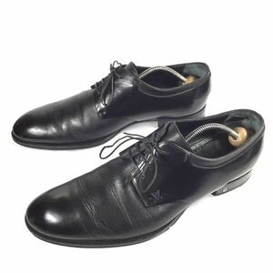【ルイヴィトン】本物 LOUIS VUITTON 靴 26.5cm 黒 LVロゴ プレーントゥ ビジネスシューズ 外羽根式 本革 レザー 男性用 メンズ 伊製 8