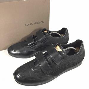 未使用品【ルイヴィトン】本物 LOUISVUITTON 靴 27cm 黒 ダミエ スニーカー カジュアルシューズ レザー×ジャガード メンズ 伊製 8 1/2 箱
