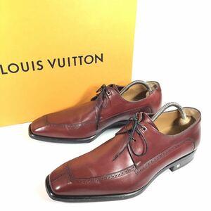 美品【ルイヴィトン】本物 LOUIS VUITTON 靴 25cm 茶 ビジネスシューズ 外羽根式 本革 レザー 男性用 メンズ イタリア製 5 1/2 箱有