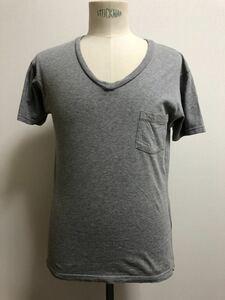 EC製 Folk フォーク Vネックカットソー Tシャツ プリント 2 Mサイズ グレー メンズ バックプリント ポケT ポケット