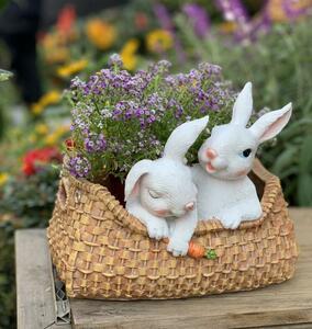 鉢植え うさぎの置物 兎 兎のオブジェ フィギュア インテリア ガーデニング オーナメント 庭 装飾 玄関 雑貨 樹脂 飾り