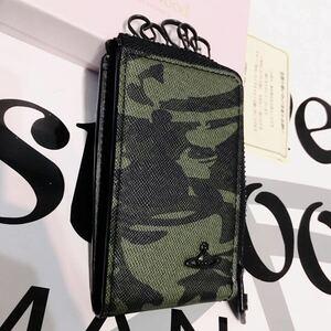 送料込●新品●価14300円 元箱付 Vivienne Westwood 5連キーケース 緑オーブ柄迷彩 塩ビレザー&牛革 ヴィヴィアンウエストウッド
