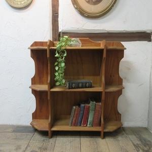 イギリス アンティーク 家具 ブックシェルフ ブックケース 本棚 飾り棚 収納 木製 パイン 英国 BOOKCASE 6717b