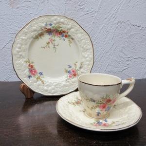 イギリス ヴィンテージ クラウン・デュカル デミタスカップ ソーサー ケーキ皿 アンティーク雑貨 英国製 tableware 1480sa