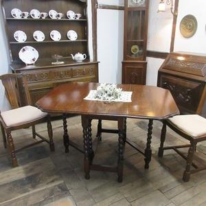 イギリス アンティーク 家具 ダイニングテーブル バタフライ ゲートレッグテーブル ツイストレッグ 木製 オーク 英国 TABLE 6773b