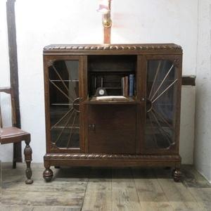 イギリス アンティーク 家具 サイドバイサイド ビューロー ディスプレイ バルボスレッグ 飾り棚 収納 木製 英国 BUREAU 6754b
