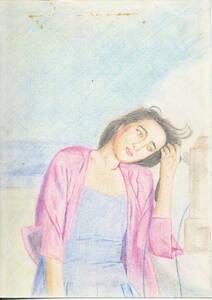 003* handwriting . illustration / scribbling / approximately B5~A4* Kobayashi flax beautiful?* pastel? color pencil?