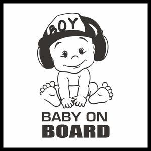 BABY ON BOARD 赤ちゃんが乗っています 安全運転 注意 車 窓ガラス カスタム かわいい 黒 シール ステッカー1枚