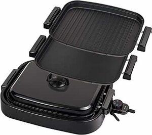 ブラック [山善] ホットプレート 2WAY (平面プレート/波形プレート) 着脱式 ワンタッチ操作 蓋付き フッ素コーティング