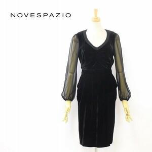 新品■NOVESPAZIO/ノーベスパジオ 袖シースルー 切替 ベロア ベルベット ドレス ワンピース 黒 ブラック 38