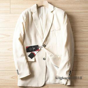 P552/54A(2XL程度)新品■綿麻混 テーラードジャケット 通気性 軽薄 春夏 紳士メンズ カジュアル ビジネス ブレザー/ ベージュ
