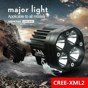 2個セット 60ワット LED バイクライト 6500 LM スポットライト 12V 4ランプ ビーズ バイク ヘッドライト カスタム 高品質 防水
