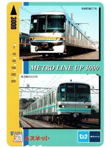 【5穴あり使用済み】パスネット 東京メトロ 営団地下鉄 Metro Line Up 3000 ②