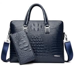 ビジネスバッグ メンズ トートバッグ ブリーフケース クロコダイル柄 鞄 カバン 就活 通勤 手提げ 斜めがけ A4  ブルー