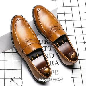 ローファー メンズ スリッポン ビジネスシューズ カジュアル  ドライビングシューズ 紳士靴 通学 イエロー 27cm
