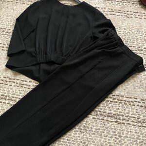 未使用 美品 Ray BEAMS デザイントップス&ワイドパンツ セットアップ 黒 0