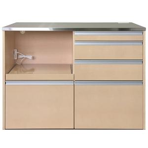 送料無料/製造直販/ルフレ ステンレス天板 鏡面キッチンカウンター120(家電収納タイプ)/レンジ台/ピアノアイボリー/日本製/完成品