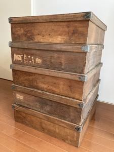 5箱セット フランス 19C アンティーク 木箱 アトリエ 古道具 蚤の市 ブロカント 収納