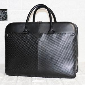 【セール】dunhill ダンヒル 実用的なモデル♪☆美良品☆オールレザー 型押し革 二層 Wジップ 書類バッグ 仕事鞄 黒 メンズ 男性 紳士
