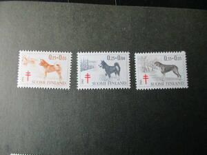 フィンランドの犬ーカレリアン熊犬ほか 3種完 未使用 1965年 フィンランド共和国 VF/NH 寄付金付き