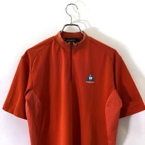 ゴルフ◆le coq sportif GOLF ルコック ゴルフ ハーフジップ 半袖 ドライ シャツ Tシャツ M /メンズ/オレンジ/スポーツ/ゴルフ