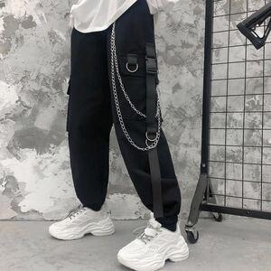 ジョガーパンツ テーパードパンツ チェーン ストリート カーゴパンツ ワークパンツ メンズ レディース ボトムス 原宿 M L XL 黒 ブラック