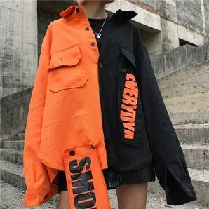 ブルゾン ジャケット アウター ツートーン ビッグシルエット レディース メンズ オーバーサイズ ブラック 黒 オレンジ 原宿系 韓国系