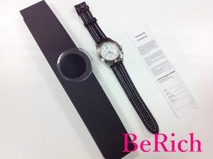 LAPANDAY メンズ 腕時計 白 ホワイト 文字盤 SS レザー 黒 ブラック クロノグラフ デイト アナログ クォーツ QZ ウォッチ 【中古】ht2443