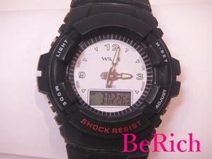ウィリー WILLIE メンズ 腕時計 白 ホワイト 文字盤 SS ラバー 黒 ブラック デジアナ クォーツ QZ ウォッチ 【中古】ht2801