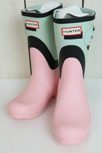最終1点! 希少カラー【新品】☆HUNTER ハンター:ピンク×ペールグリーン ショートブーツ UK3 22.0cm/ツートン/レイン/WFS2039RMA