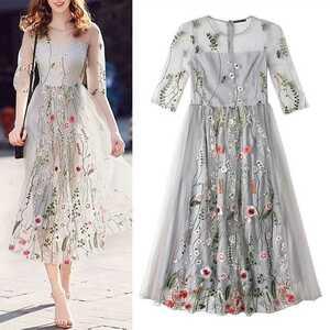 春新品レース パーティードレス ファッション スタイル 結婚式 ワンピース ワンピースミドルワンピース花柄スカートお呼ばれドレス