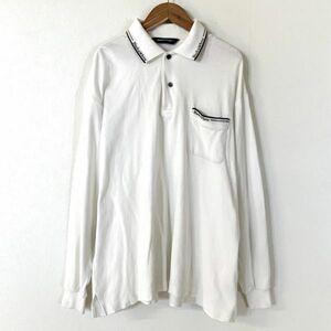 雰囲気抜群 Black&White ブラック&ホワイト 鹿の子 長袖ポロシャツ メンズ Lサイズ ホワイト ゴルフ golf