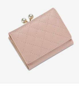 レディース 二つ折り財布 がま口 キルティング ピンク