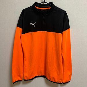 【XL】PUMA 薄手ジャージ ハーフジップ トレーニングウェア スポーツウェア オレンジ ブラック 部活 ジム 長袖
